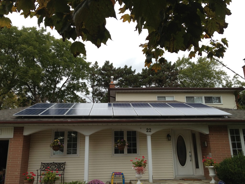 Solar panels mounted to veranda roof